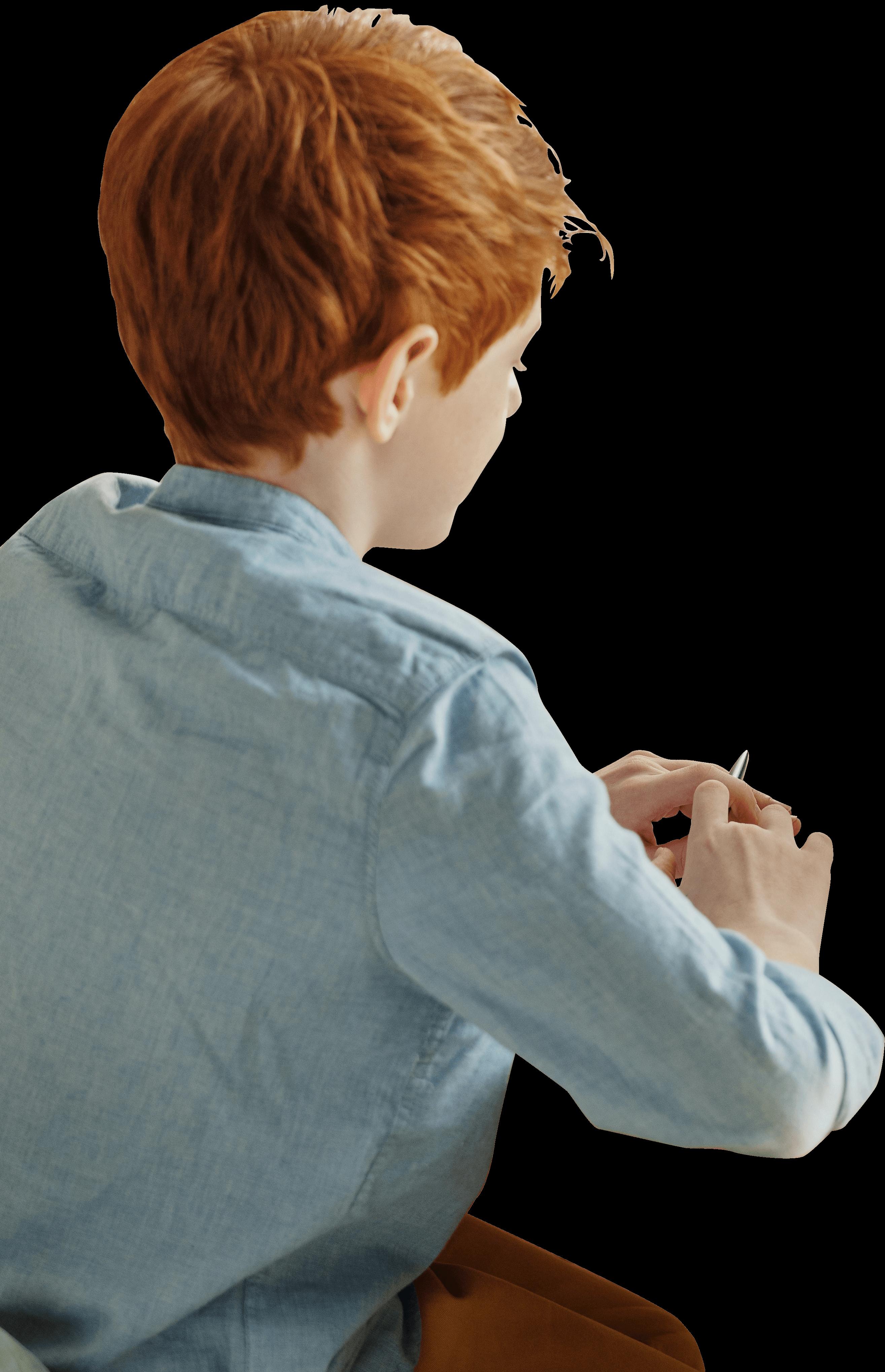 Teen boy with pencil